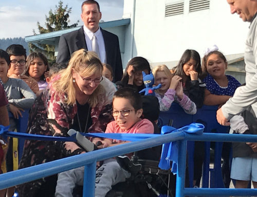 Manson 5th Grade Student Cuts Ribbon on New ADA Access Ramp