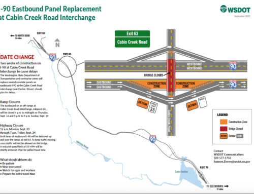 Construction-related delays on Eastbound I-90 starts Sunday Night